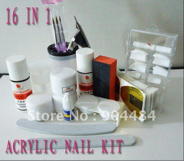 Acrylic Nail Kit 18in1 Full Set For Diy Fingernail Desgin & French Tips Powder Brush Liquid File Block FreeShipping-010(China (Mainland))