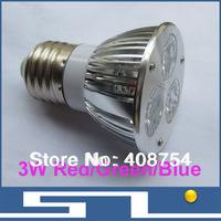 Sale!!3W Red/Green/Blue LED Spotlight,Bulb with MR16/GU10/E27 base, high brightness LED ceiling Lamp Save Power ,20pcs/Lot
