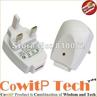 Free Shipping (500pcs/lot) UK Plug USB Travel Charger for iPhone for iPod for Amazon Kindle