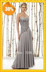 2013 NEW Sliver Elegant Embriodery Beaded Chiffon Free Shipping Mother of the bride/groom Dresses Dress Evening gown dress(China (Mainland))