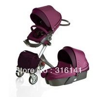 Purple Stokke Xplory Stroller with raincover and Mosquito net - Free shipping worldwidely