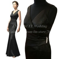 Elegant V Neck Mermaid Black Mother of the Bride Dress GN253