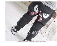 2012 New Spring children pants boy's trousers girl's slacks children big eyes harem pants harem trousers gray black color 650010
