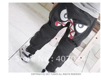 2012 New Spring children pants boy's trousers girl's slacks children big eyes harem pants harem trousers gray black color 650010