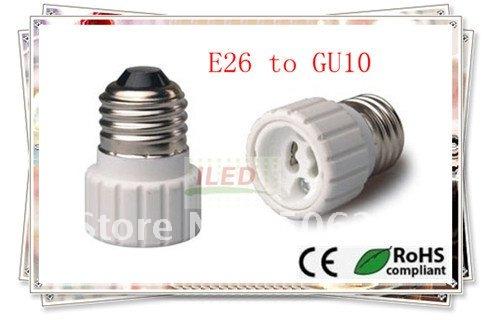 10pcs Fire proof PBT lamp holder E26 to GU10 holder adapter CE & RoHS lamp base GU10 to E26 adapter converter(China (Mainland))