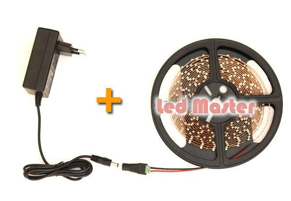 SMD3528 Warm White LED Strip Light 5M/roll 300leds Non-waterproof with DC 12V 2A Power Adapter+ Adapter Connector Free shipping(China (Mainland))