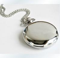 "12pcs/lot Ladies White Silver Lady Necklace Girls Pendant Women Quartz Pocket Watch, Dia 1.77"",  Chain 31.5"""