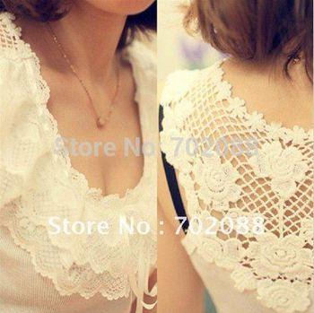 Retail Korea Women's Hollow-out Vest Fashion Waistcoat Camisole Sexy lace tank top Lace Camisole 2 color Black White