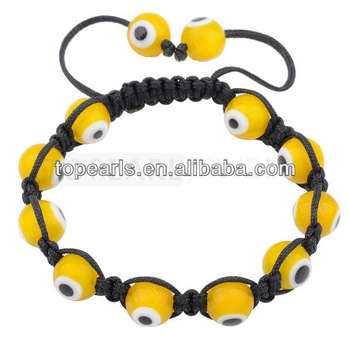 Free shipping! 10pcs/LOT macrame bracelets glass lampwork Evil Eye bead BJ064223