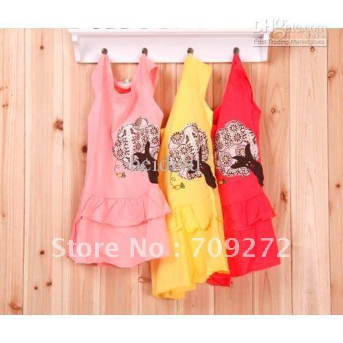 Dress Designer Online on Dresses Fit 3 8years Kids Cotton Vintage Dress Cartoon Tree Design Red