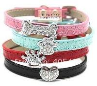 DIY Croc PU Leather puppy Dog Collar with Rhinestone Buckle!bling cat,dog,pet collars.Pet products.free shipping!10pcs/lot