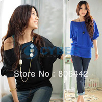 2012 New Arrival Sexy Women's Trendy OFF-Shoulder Top Cotton T-Shirt Button Decoration Blouse 3Sizes  3109