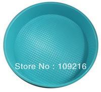 Wholsale!! Free shipping!!! 1pcs Green Good Quality 100% Food Grade Silicone Cake/Pizza Cupcake Pan Big Round Bakeware DIY Mold