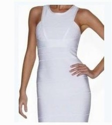Hot Selling knitted HL Bandage Dress N024 White Sleeveless Evening Dress(China (Mainland))