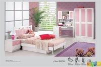4 Pcs New Full Size Bedroom Set MDF Panels Children Furniture  3-Doors Wardrobe