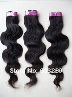 "12""14""16""18""20""22""24""26""28"" long Brazilian Virgin hair weft/weaving BODY WAVE 100gram #1B natural black/ Off black color"