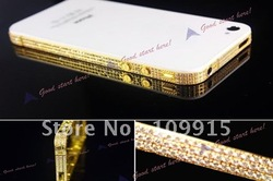 Gold with white Diamond Plating Plate Bezel Frame Middle Chassis Housing For iPhone 4S 4GS Free Shipping(China (Mainland))