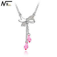 MT JEWELRY Free shipping Breast Cancer Beneficence Best Wishes Pink Bowknot Pendant Necklace