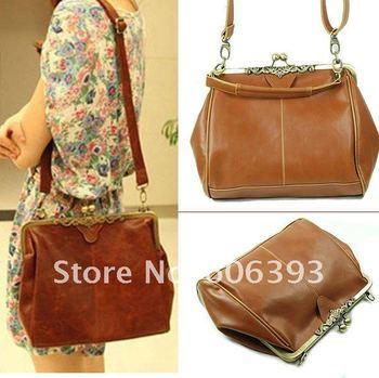 C18Free shipping Fashion Retro Vintage Lady PU Leather Shoulder Handbag Satchel Tote Bag Purse