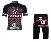 Free shipping+top100% Polyester +pad COOLMAX+2011 black star TREK Cycling wear/bikes wear short sleeve jersey+ shorts 1set