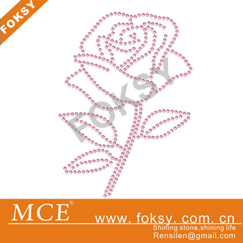 30pcs/lot 2013 rose flower motif rhinestone transfer motif crystal iron on rhinestones applique for shirts