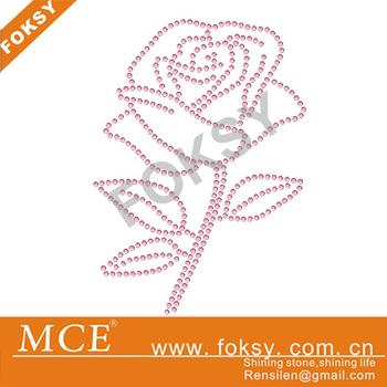 30pcs/lot 2013 rose flower motif rhinestone transfer motif crystal iron on rhinestones applique for shirts