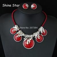 Fashion Heavy Chunky Rope Metal Big Wood Grain Red Resin Mix Pendant Choker Collar Bib Necklace Clip Earring jewelry set Item