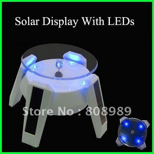 Solar display / solar stand / solar turntable Jewelry or mobile MP3 MP4 stand digital base With 4 LED 2pcs/lot Free Shipping(China (Mainland))