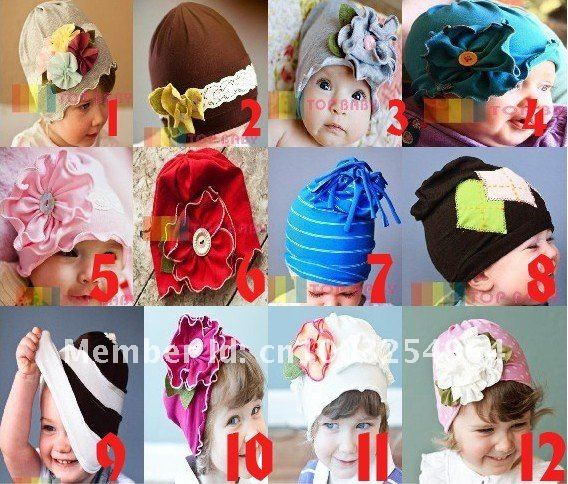 Free shipping! 10 pcs lot 12 styles top baby hat,children's hair accessories,baby warm cap,baby Flower hat,Christmas gifts(China (Mainland))