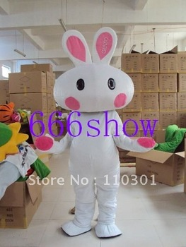 Pink Ear Easter Bunny Rabbit  Mascot Costume Adult Size Fancy Outfit