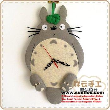 Totoro Plush clock/lovely cartoon mute wall clock,factroy wholesale&retail