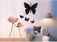 30 pieces/lots diy Creative Butterfly Silent Resin Wall Clock AA*1black red mixed 12 inch shiping within 48hours