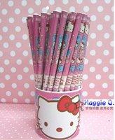 Free shipping wholesale price cute/hello kitty Wood pencil,cartoon pencil 144pcs/lot