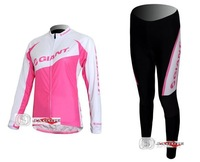 Free shipping+Polyester +Coolmax+2011 pink women's GIANT Long Sleeve Cycling Jerseys and Pants Set/Cycling Wear/Cycling Clothing