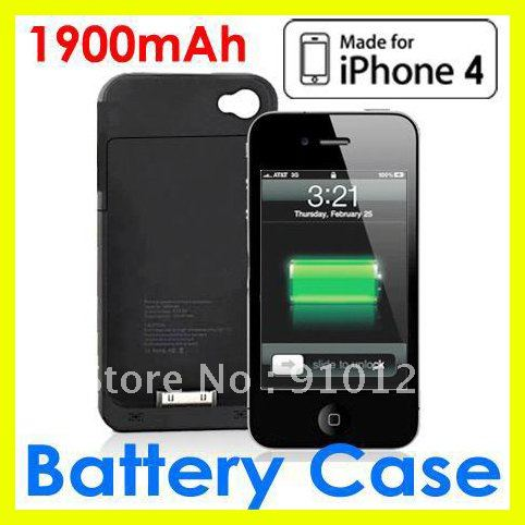 External Rechargeable Backup Battery Charger Case Cover Shell For iPhone 4 4G Express 10pcs/lot(China (Mainland))
