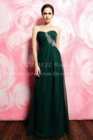Casual Designer Simple Sweetheart Beaded Long Chiffon Dark Green Evening Gown Pleat GN312 robe de siree Floor Length