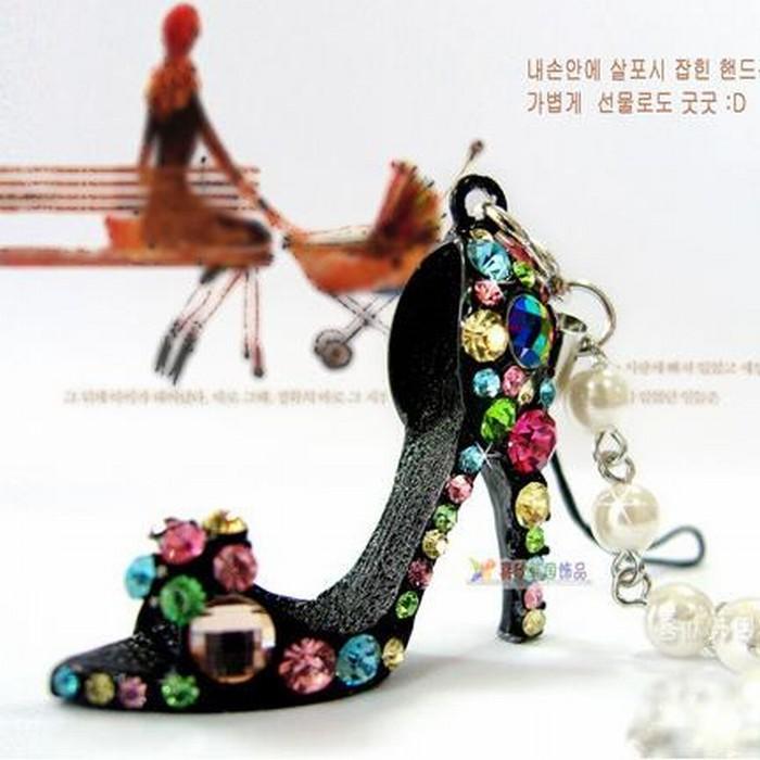 1 PCS Lovely Rhinestone Crystal Pearl High Heels Phone Chain / Fashion Rhinestone Key Chain(China (Mainland))