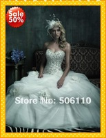 Custom Hot Sale Romantic Princess Designer Sweetheart Embriodery Flowers Wedding Bridal Dresses Dress Gowns Gown Free Shipping