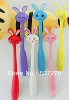 Free shipping Can bend Super cute cartoon rabbit/fine ball pen/students ball-point pen/office children with  ball pen