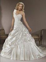 Sexy one shoulder Soft Satin wedding dress free shipping