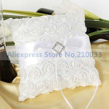 Free Shipping Wholesales Retail White Sash Rose Special Wedding Favors Stuff Bridal Unique Ring Bearer Pillow Cushion
