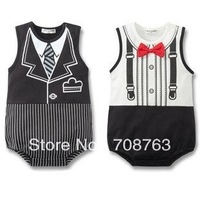 New Arrival Bowknot Gentleman Tie Rompers  Suits For Baby Infant Kids Boys Wholesales 1 Pack 6 Pieces