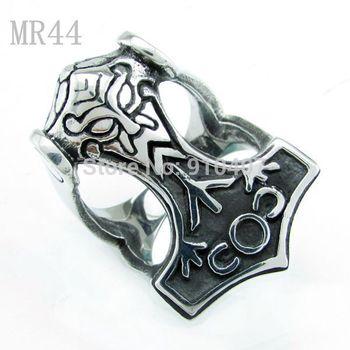 Free Shipping! 3pcs/lot 316L Stainless Steel Antique Viking  Thor's Hammer Mjolnir Rings For Men Finger Size 8,9,10,11,12,13