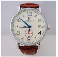 Hot! Men Men's Automatic Mechanical Watch White Brown Date Wrist Watch Xmas Gift Free Ship