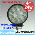 Cheap shipping! LED 24W FLOOD round construction machinery heavy duty power work light/lamp off road light /worklight