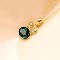 Min Order 12$ Fashion Jewelry Vintage Blue Crystal Rabbit Pendant Necklace Rhinestone Chain Shorts Necklaces XL0015