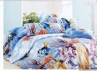 500 thread count cartoon Finding Nemo pattern children's bedding sets home textile quilt/duvet covers sets 5pcs cotton comforter