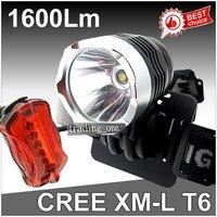 1600 Lumen CREE XM-L T6 LED Bicycle bike HeadLight Lamp Flashlight Rear Light Headlamp  6400mAh 8.4v battery Charger