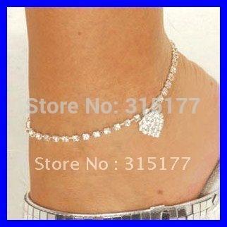 Free shipping 2012 Rhinestone Heart Anklets Rhinestone Jewelry Wholesale 30pcs/lot Costume Jewelry Holiday Gift 0620