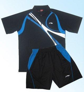 Men's track suit] Li Ning table tennis clothes white blue side suit